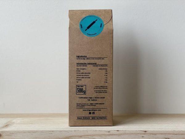 paquete gourmet de harina gallega marca Trigo y Limpio. Valores nutricionales y características del producto